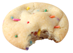 Confetti Wooden Spoon cookie icon - cookie with bite